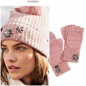 VS sparkle pom-pom hat & gloves set blush pink. To